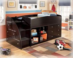 I love this and think it will give Hunter the bunk bed feel he wants without actually having bunk beds..