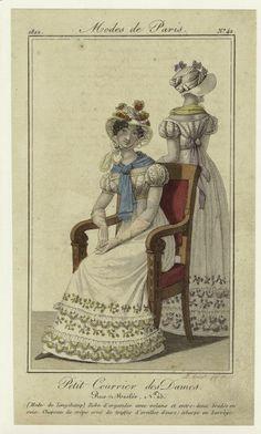 Mode de Longchamps : robe d'organdie avec volans et entre-deux brodés en soie, chapeau de crêpe orné de touffes d'oreill... (1822)