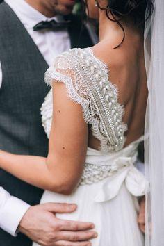 Anna Campbell wedding dress beaded sleeve detail | Raconteur Photography