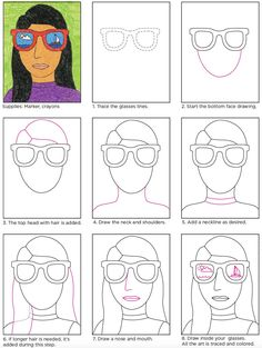 Draw a Portrait with Sunglasses · Art Projects for Kids Art Projects For Teens, Toddler Art Projects, School Art Projects, Self Portrait Kids, Portraits For Kids, Portrait Ideas, Drawing For Kids, Art For Kids, Art Rubric