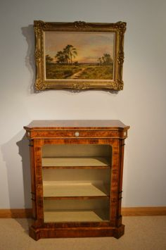 "A Beautiful Victorian Period walnut inlaid antique pier cabinet 33.5"" wide x 39"" high x 15"" deep"