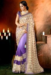 Beige Faux Shimmer Georgette and Faux Chiffon Saree with Blouse