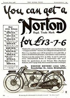 'Norton Motorcycles - 1928' - Fantastic A4 Glossy Print Taken From A Vintage Motorcyle Ad by Design Artist http://www.amazon.co.uk/dp/B019H6KGOC/ref=cm_sw_r_pi_dp_7tSCwb1E9Q2VA