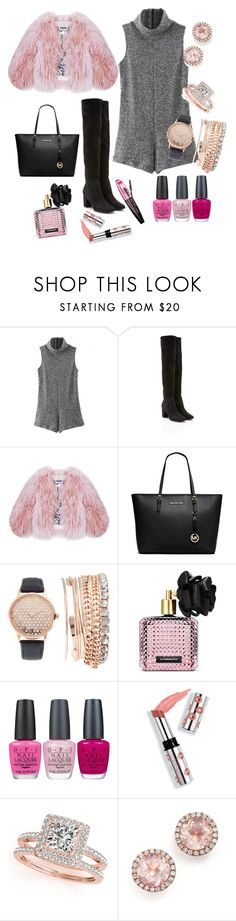 """A touch of pink"" by gamosefashion on Polyvore featuring WithChic, Florence Bridge, Michael Kors, Jessica Carlyle, Victoria's Secret, OPI, L'Oréal Paris, Ciaté, Allurez and Dana Rebecca Designs"