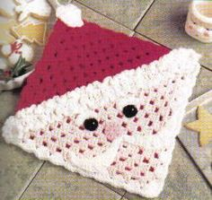 Free Crochet Pattern ~ Santa   Hot Pad  I don't know that I could use this idea for a hot pad...  How could I set a hot pan on   Santa's face??!!!