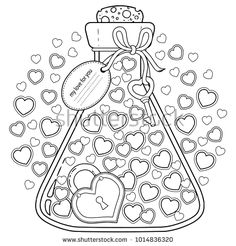 Vector coloring for adults. My love for you. Valentines closed in a glass bottle - buy this stock vector on Shutterstock & find other images. Quote Coloring Pages, Printable Adult Coloring Pages, Colouring Pages, Coloring Pages For Kids, Coloring Books, Album Baby, Valentines Day Coloring Page, Floral Letters, Digital Stamps