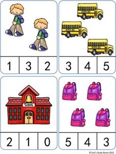 Back to School Count and Clip Cards: Numbers Kindergarten Math Worksheets, Preschool Learning Activities, Preschool Classroom, Beginning Of School, Back To School, Community Helpers Preschool, Montessori Math, Basic Math, Math For Kids