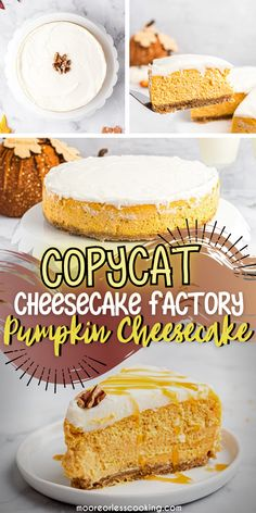 This cheesecake has a seasonal twist to the traditional cheesecake. Topped with buttercream frosting and served drizzled with caramel sauce=delicious! Make this Copycat Cheesecake Factory Pumpkin Cheesecake at home instead of going to the restaurant to get it. Cheesecake Factory Pumpkin Cheesecake, Cheesecake Recipes, Best Dessert Recipes, Fun Desserts, Cream Cheese Eggs, Incredible Recipes, Graham Cracker Crumbs, Love Cake, Buttercream Frosting