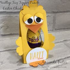 Scallop Tag Topper Punch Easter e-Chicki Chick Caramel/Creme Egg Holder for Jems Blog Hop. Created by Amanda Bates at the Craft Spa in the UK. Stampin Up UK Demonstrator & Papercraft Designer. Shop Stampin Up online.