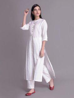 White Handloom Cotton Kurta with Hand Block Printed Pants- Set of 2 Simple Pakistani Dresses, Pakistani Fashion Casual, Simple Kurti Designs, Kurta Designs Women, Stylish Dresses, Fashion Dresses, Kurta Neck Design, Indian Designer Suits, Cotton Shirt Dress