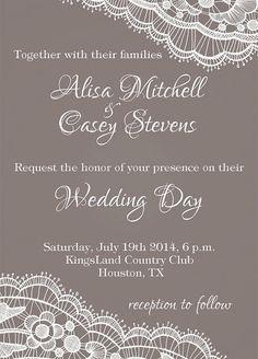 Lace Wedding Invitation SET Grey Lace wedding by PrintableMoon