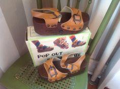 Vintage Pop Out Sandal Skate Wooden Clog Size 6 Novelty Shoe Roller Derby Stella Ranae on Etsy, $88.00