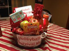 Volleyball survival kit!!! Add some snacks, Gatorade, and gift cards!! Perfect for a coach you appreciate!