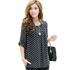 Mulheres chiffon blusa camisas das mulheres polka dot blusa 3XL 4XL 5XL blusas tamanho grande blusas roupas plus size xxxl xxxxl xxxxxl WD015 em Blusas de Moda e Acessórios no AliExpress.com | Alibaba Group