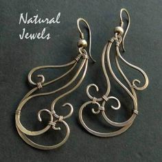 Earrings | Natural Jewels Designs. 'Waves' Sterling silver.