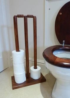 Cricket Stumps Loo Roll Holder - Walnut Finish