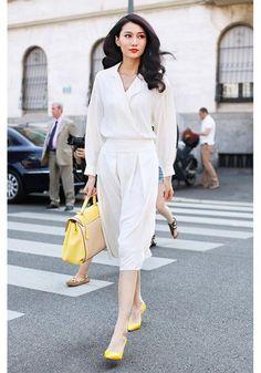 White dress + yellow shoes + lemon bag