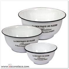 """Set de 3 cuencos vintage de metal esmaltado blanco """"La Boutique de Fleurs"""" - WWW.DECORATECA.COM"""