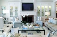 Furniture layout around fireplace  Interview With The Designer: Philip Mitchell Design Inc.