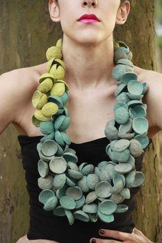 Necklace | Mercedes Vázquez Martínez ~  Nuevo Diseño Xalapeño.  Recycled egg cartons.