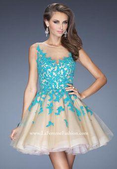 La Femme Sheer Sleeves Homecoming Dress 20399