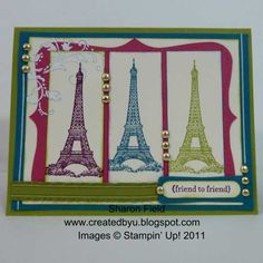 CS46S Technicolor Eiffel Tower by sharonstamps - Cards and Paper Crafts at Splitcoaststampers