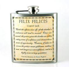 Harry Potter FELIX FELICIS Flask- unique gift for Harry Potter fans - potions - For luck. $20.50, via Etsy.