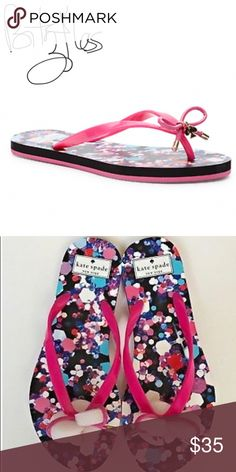 a5d8f46356f89 Kate Spade New York Flip Flop Kate Spade New York A sweet bow with  signature logo. PediPink SandalsShoes ...