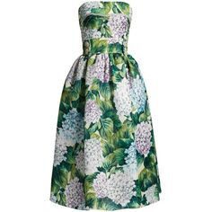 Dolce & Gabbana Hydrangea-print organza strapless dress (€5.150) ❤ liked on Polyvore featuring dresses, green print, green cocktail dress, strapless cocktail dresses, floral fit-and-flare dresses, midi dress and fit and flare dress
