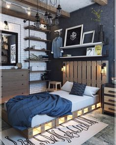Industrial style interior designs emerged as a kind of combination of warm rustic and cool Scandinavian interior decoration styles. Industrial Bedroom Design, Industrial Interiors, Industrial Kitchens, Industrial Lamps, Industrial Furniture, Design Bedroom, Home Interior, Interior Design, Contemporary Bedroom