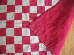 vintage red and white doll quilt