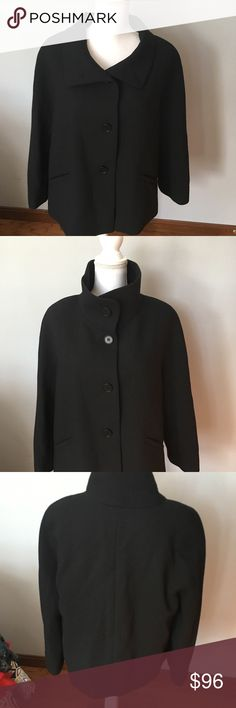 Talbots Gorgeous Classic Wool Jacket Size 14 Timeless, Luxurious Black Wool Talbots 2 Pocket 4 Button Long sleeve Jacket. Fully lined. It's the perfect mix of Chic and sophistication. Scarf included! Not eligible for bundle due to weight. Talbots Jackets & Coats
