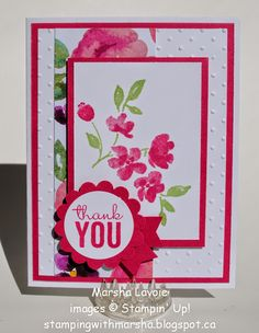 "Paper: Whisper White, Rose Red, Painted Blooms DSP. Ink: Rose Red, Wild Wasabi Stamps: Painted Petals. Accessories: Banner punch, 1 3/4"" Scallop punch, 1 3/8"" Circle punch, Dimensionals"