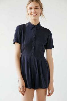 Cooperative Button-Front Shirt Romper