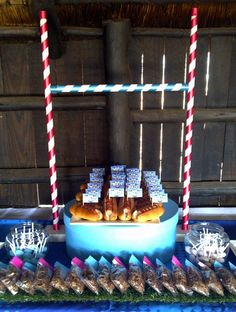 Rugby Goal Post dessert table Centre piece for a rugby league themed birthday party. Have a rugby birthday cake right in the middle would be cool. 1st Birthday Parties, Birthday Cake, 8th Birthday, Birthday Ideas, Rugby Cake, Party Buffet, Rugby League, Sports Party, Sweet 16 Parties