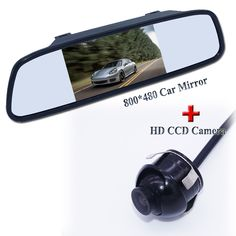 "High resolution hot selling 4.3"" car rear mirror monitor +360 angle  car parking and front camera fit into kinds of cats"