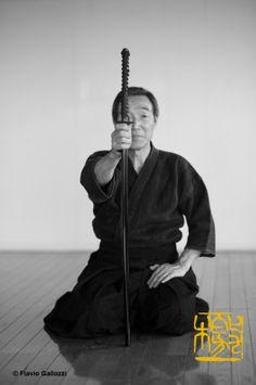 Iai, martial art with the katana sword, master Meguro holding the katana in AizuBange, Fukushima prefecture, Japan. Photo © Flavio Gallozzi ...