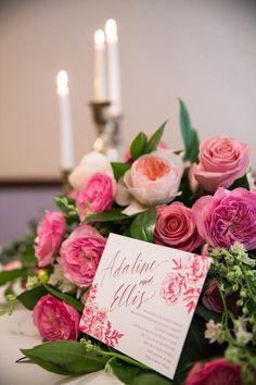 Lovely berry wedding invitation | Berry Wedding Inspiration at The Ashton Hotel, TX via @myhotelwedding