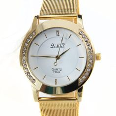 Best Quality D0D28 Famous Brand SS Made Full Stainless Steel Gold Watch Woman Fashion Dress Watches Quartz Watch Valentine gift #Affiliate