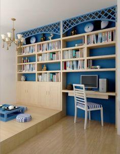 地中海风格书房实景图