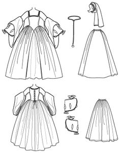 medeival dress Drawing Template | Patterns › Simplicity › Costumes › 2589 Misses Tudor Costume