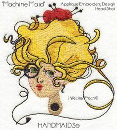 Machine Maid - She Who Sews Applique Machine Embroidery Design, Head Shot Machine Embroidery Projects, Machine Embroidery Applique, Free Machine Embroidery Designs, Applique Patterns, Applique Quilts, Quilting Projects, Embroidery Ideas, Embroidery Online, Applique Tutorial