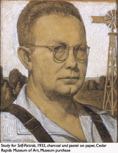 Grant Wood 1932 Study for 'Self-Portrait' pencil, charcoal and pastel on paper x cm Cedar Rapids Museum of Art, Iowa Grant Wood Paintings, Field Paint, Domaine Public, Art Grants, Social Realism, Art Fund, Arts And Crafts House, American Gothic, Cedar Rapids