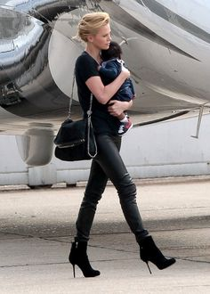 Charlize Theron with our #Falabella Fold-Over Tote.