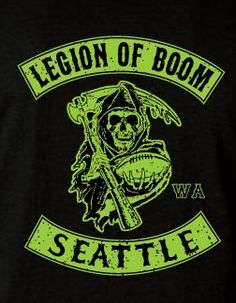 Legion of Boom Seattle Seahawks Biker Style T-Shirt TShirt Limited Edition Black Version !!!!!!!!!!