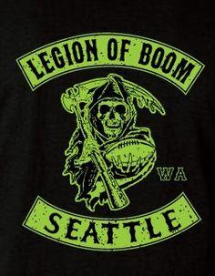 Legion of Boom Seattle Seahawks Biker Style T-Shirt TShirt Limited Edition Black Version !!!!!!!!!!
