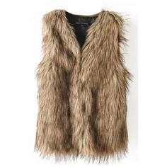 Faux Fur Fabric V-Neck Hidden Buttons Vest ($23) ❤ liked on Polyvore featuring outerwear, vests, brown vest, v neck vest, fake fur vest, vest waistcoat and brown waistcoat