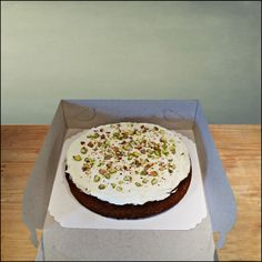 Italian summer cake! Luscious almond-pistachio cake with orange blossom water and mascarpone topping