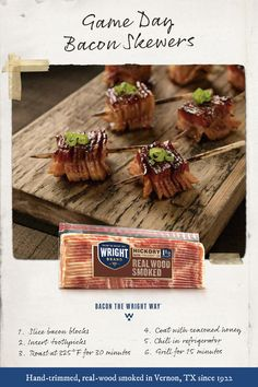 Welcome to the home of Thick Cut Bacon. Hand selected, hand trimmed, Wright Brand bacon provides a thick, smoky character you can count on every time. Yummy Appetizers, Appetizers For Party, Appetizer Recipes, Snack Recipes, Cooking Recipes, Snacks, Tailgate Food, Tailgating, Charcuterie And Cheese Board