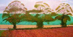 David Hockney Three Trees near Thixendale, Autumn 2008 Herfst en Kunst David Hockney Landscapes, David Hockney Art, David Hockney Paintings, Classical Realism, Pop Art Movement, English Artists, Portraits, Paintings I Love, Landscape Paintings